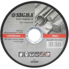 Круг отрезной по металлу 125х1.6х22.2мм (10/30) 1940091 SIGMA
