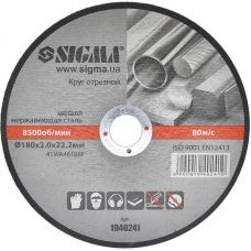 Круг отрезной по металлу 180х2.0х22.2мм (10/40) 1940241 SIGMA
