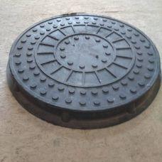 Люк круг Большой черный с замком (3т) 750*90/690/545