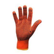 Перчатки оранжевые, синие точка х/б (12 шт)