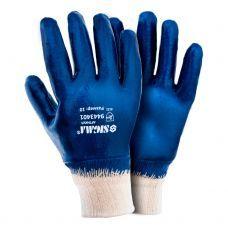 Перчатки трикот с полным нитриловым покрытием р10 (синие манжет) 9443401