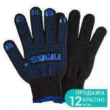 Перчатки трикот с ПВХ точкой р10 Оптима (черные) (1/12) 9442531